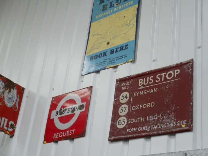 bus and road signs