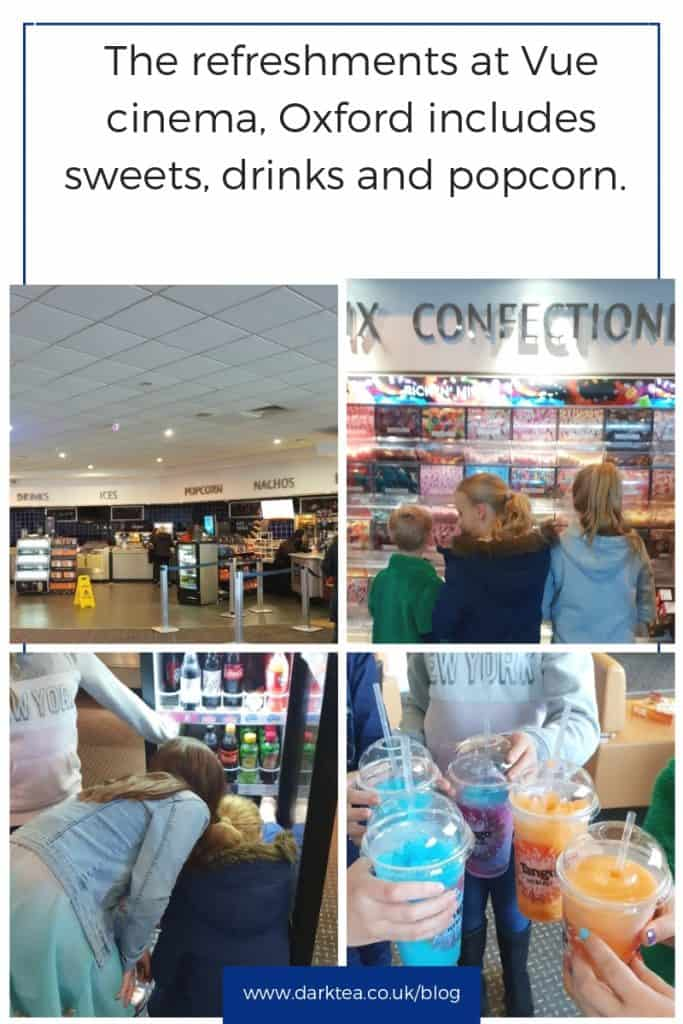 Refreshments at Vue cinema Oxford includes popcorn, sweets and drinks